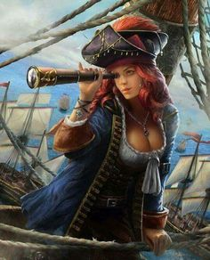f Wizard Pirate Robes Cloak Hat Spyglass Ship docks coastal city Tower med Fantasy Girl, Fantasy Art Women, Fantasy Warrior, Pirate Art, Pirate Woman, Pirate Life, Pirate Wench, Fantasy Characters, Female Characters