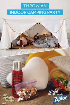 Throw the best winter birthday party ever with this Indoor Camping Party Guide… Indoor Camping, Backyard Camping, Tent Camping, Camping Lanterns, Diy Camping, Camping Ideas, Camping Party Foods, Camping Parties, Parties Food