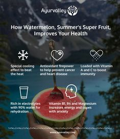 #Refreshing and #sweet, #watermelon is the perfect #fruit to #beattheheat. Indulge in this #guiltfree, low maintenance #dessert for a healthy #summer .   #gethealthywithayurvalley #SuperFruit #cooling #Antioxidant #preventcancer #VitaminA #VitaminC #electrolytes #rehydration #increaseenergy #prostatecancer #Betacarotene #VitaminB6 #Magnesium #anxietyquotes #athleticperformance #picnic #lycopene #aminoacids #fatfree #lowcalorie #Dietetics