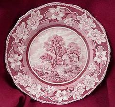 "Coalport Staffordshire England Pastoral Kings Ware 1891~ 1920 Red Pink Ironstone Transferware 10 1/2"" Plate"