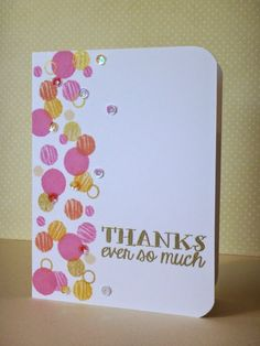 Avery Elle Many Thanks Clear Stamps. Inks: Hero Arts, Pale Tomato, Bubblegum, Butterbar & Soft Vanilla; Delicata Golden Glitz