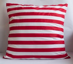 Red and White Stripes Pillow Cover by MomistaBeginnings // Momista & Pop Shop on Etsy