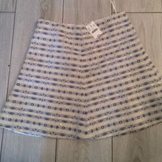 NWT adorable J Crew blue and silver flare skirt This skirt is too cute. Perfect match for denim or navy. Dress it up with a blazer or casual with Converse and a tee shirt. J. Crew Skirts Mini