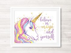 Unicorn Printable Art Unicorn Wall Art by LemonadeDesignStudio Unicorn Wall Art, Unicorn Rooms, Unicorn Bedroom, Unicorn Poster, Unicorn Decor, Kids Room Design, Design Girl, Nursery Art, Girl Nursery