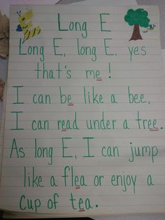 Another great poem to help students to remember Long E and to give examples of Long E. Abc Phonics, First Grade Phonics, Phonics Words, Jolly Phonics, First Grade Reading, Phonics Activities, Reading Workshop, Reading Skills, Teaching Reading