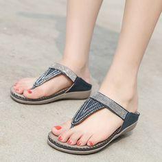 1934a38bd01 Khaki Bohemia Summer Beach Thong Flat Sandals With Crystal