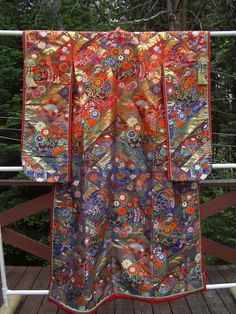 Magnificent Modern Uchikake, embroidered and woven silk