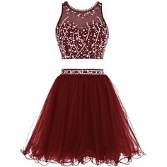 Tideclothes Short Beading Prom Dress Two Pieces Tulle Evening Dress ($68) ❤ liked on Polyvore featuring dresses, two-piece dresses, short cocktail dresses, short tulle dress, 2 piece dress and red prom dresses