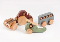 Personalized Set of 3 Wooden Vehicles with rustic ornament. $81.00, via Etsy.