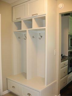 Simple cabinets and hooks - Mudroom