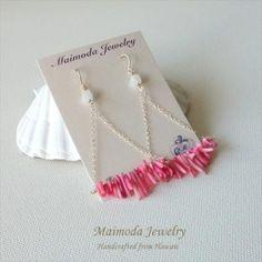 ピンク サンゴ 14KGF オーシャン ピアス from ハワイ [Maimoda Jewelry/マイモダジュエリー]