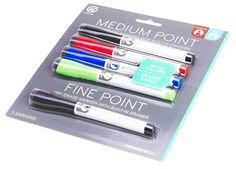 Ubrands Dry Erase Markers - 4 Medium Point + 1 Fine Point