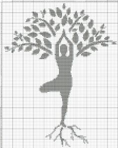 Woman and tree x-stitch Cross Stitch Pillow, Cross Stitch Tree, Cross Stitch Baby, Cross Stitch Charts, Cross Stitch Designs, Cross Stitch Patterns, Loom Patterns, Knitting Patterns, Crochet Patterns