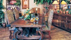 Hill Country dining room table & chairs with matching bureau and decor items