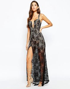 Image 1 of Love Triangle Deep Plunge Maxi Dress In All Over Lace With Thigh Split