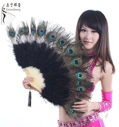 Belly Dance Props Belly Outfit Accoessory For Stage Performance Phoenix Plume Feather Fan #DJ08 $21.90