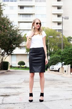 Fall Outfit white tshirt black faux leather pencil skirt