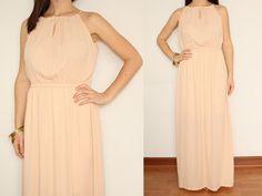 Chiffon Dress Maxi Dress Summer dress Keyhole in by KSclothing, $34.00