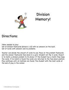 Division Memory Game