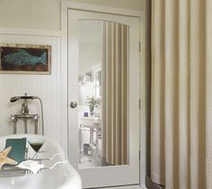 Mirrored doors are perfect additions to bathrooms.