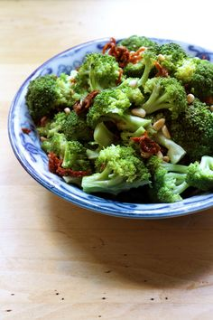 Broccoli with sun dried tomatoes, toasted pine nuts, and a splash of champagne vinegar
