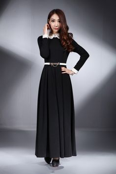 Sleeved Black and White Maxi | Black Maxi + White Belt | Royal Look | Inspiration for Hijab Style