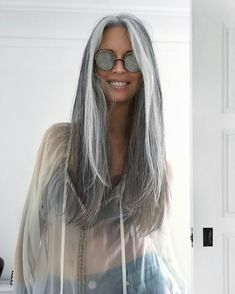 Salt and pepper gray hair. Aging and going gray gracefully. Long Gray Hair, Grey Wig, Silver Grey Hair, White Hair, Dark Hair, Pelo Color Plata, Silver Haired Beauties, Cool Hairstyles, Easy Hairstyle