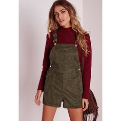 Missguided Faux Suede Dungaree Playsuit ($48) ❤ liked on Polyvore featuring jumpsuits, rompers, khaki, playsuit romper, khaki romper and brown romper