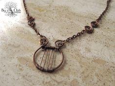 Orpheus Lyre Harp Pendant Greek Mythology Wire by bytheoakArt, $70.00