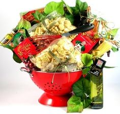 Italian Food theme gift-baskets gift-baskets gift-baskets- great idea for youth auction