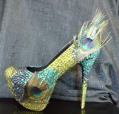 Peacock wedding meet peacock bling shoes