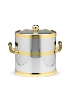 Polished Chrome and Brass Ice Bucket by Kraftware