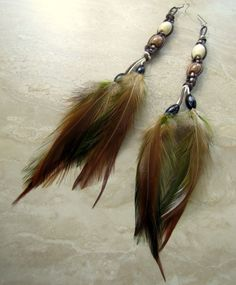 Feather Earrings  Extra Long Fall Colors by peacefrogdesigns, $28.00