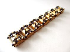 Leru Signed Gold tone Blue Rhinestone & by TheEclecticElement2, $45.00