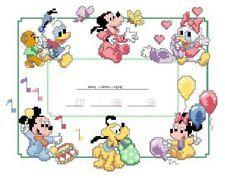 "Birth Announcement Cross Stitch Kits | Cross Stitch Kits ""Disney's Babies Birth Sampler"""