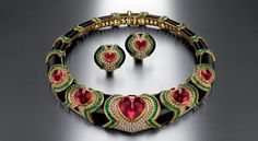 Necklace in gold with red tourmaline, emeralds, onyx and diamonds, 1989 - Bulgari