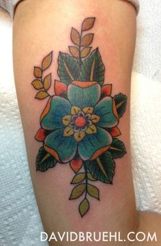 Tudor rose flower tattoo on inner arm by David Bruehl, Redletter1, Tampa, Florida