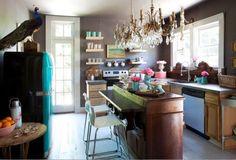 slide out counter, short shelves, light entering room.