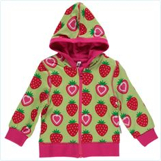 Maxomorra Kapuzenjacke Erdbeeren grün/rot - www.lolakids.de