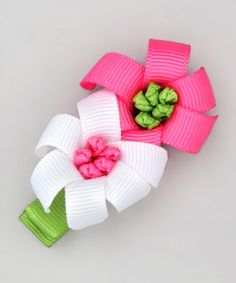 Take a look at this Pink & White Lily Clip by Bubbly Bows on #zulily today!