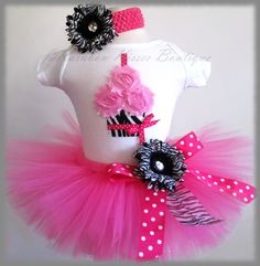 1st Birthday Outfit 3D Cupcake Tutu Set Zebra Tutu by RBKBoutique, $40.00