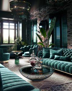 Home Room Design, Pink Home Decor, Home Interior Design, Green Rooms, Dark Living Rooms, Home, Luxury Living Room, Art Deco Living Room, Living Room Design Decor