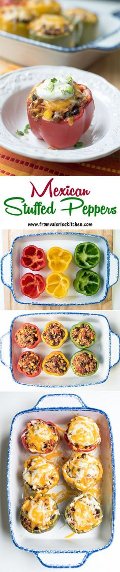 A delicious filling made with seasoned ground beef, rice, black beans, and corn is topped with cheese and baked inside pretty colored bell peppers. Mexican Stuffed Peppers are a vibrant, super tasty meal. Mexican Dishes, Mexican Food Recipes, Beef Recipes, Cooking Recipes, Healthy Recipes, Recipies, Mexican Stuffed Peppers, Snack, I Love Food