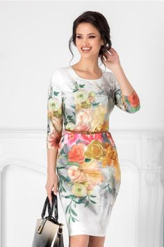 Rochii cu Imprimeuri Pretty Dresses, Cold Shoulder Dress, Bodycon Dress, Couture, Floral, How To Wear, Fashion, Clothing, Moda