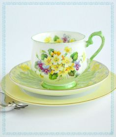 Aqua Eggshell China Garden Kitchen Teacup  with Floral Violets and Pansies