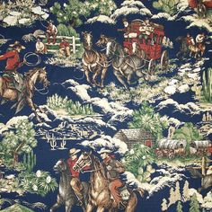 Braemore Wild West Show (Navy Blue) Fabric Printed Decorative Drapery Home Décor