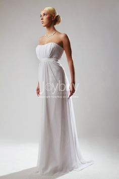 Strapless Sweep Train Chiffon Ruched Empire White Evening Outfit with Sash £86.99