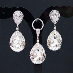 Swarovski Crystal Bridal Jewelry Sets   Home Bridal Jewelry Clear White Swarovski Crystal Bridal Jewelry Set