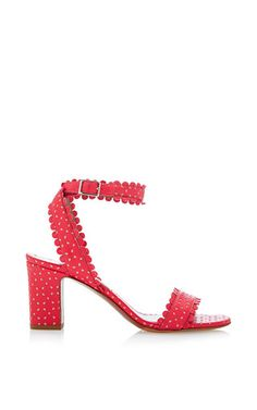Tabitha Simmons - Leticia Perforated-Leather Sandals in Coral