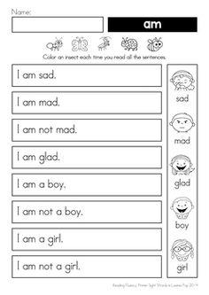 Sight Word Reading Fluency: Primer Sight Words by Lavinia Pop Reading Homework, Phonics Reading, Reading Practice, Sight Word Practice, Reading Worksheets, Kindergarten Reading, Reading Comprehension, Word Reading, Fluency Practice